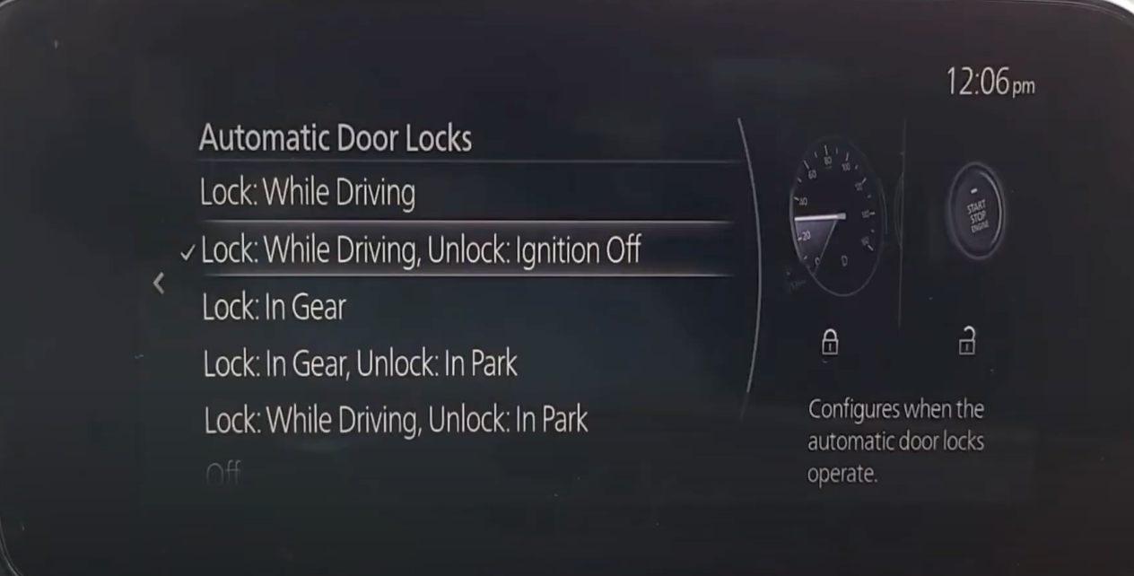Settings for the automotic door locks
