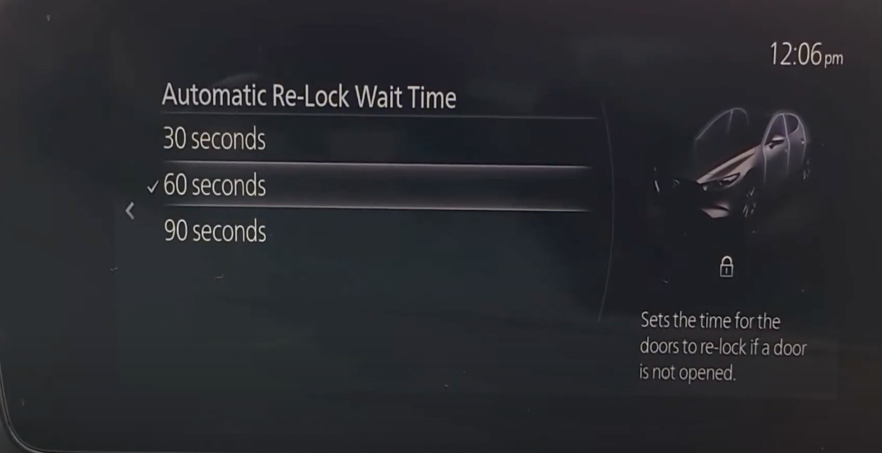Setting up automatic re-lock wait time
