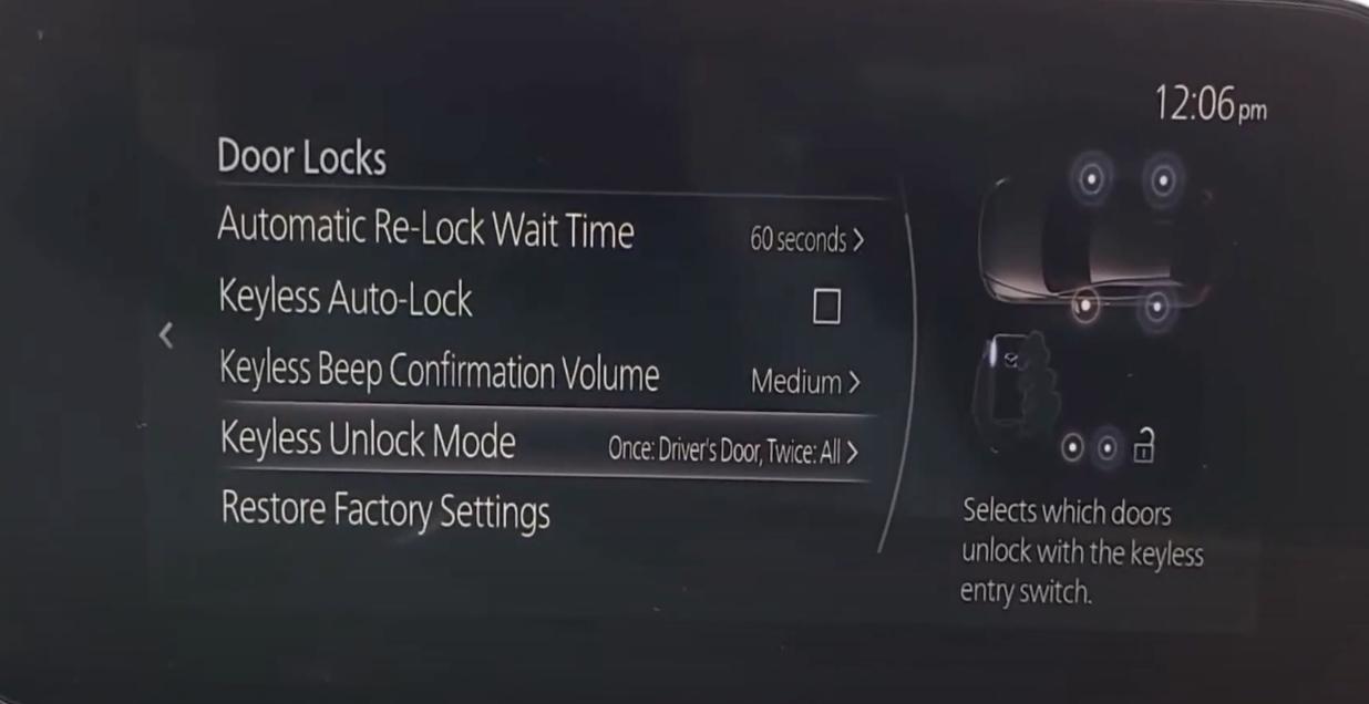 Keyless unlock mode selected from a various door lock settings