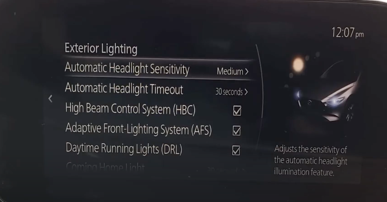 Automatic headlight sensitivity selected from various exterior light settings