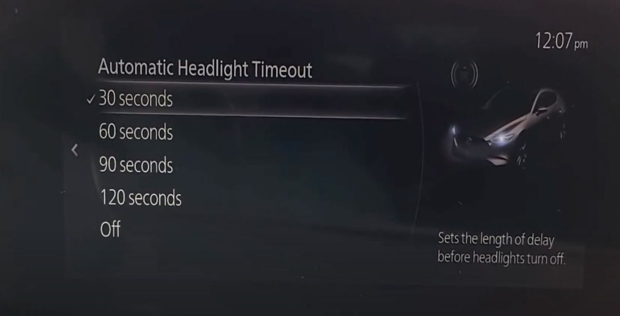 Adjusting the automatic headlight timeout