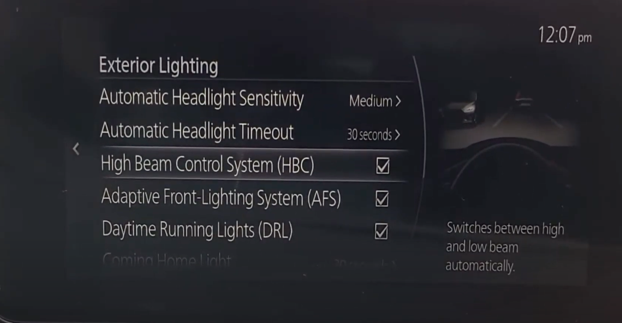 High and low beam light settings