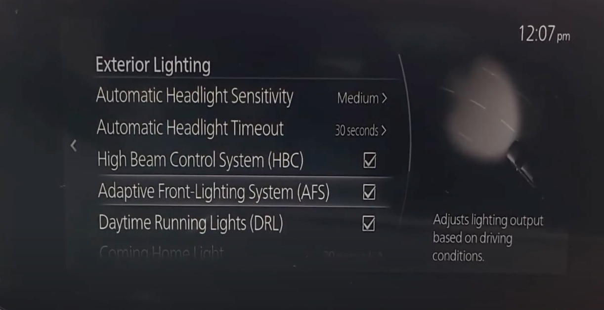 Turning on and off the adaptive lighting system
