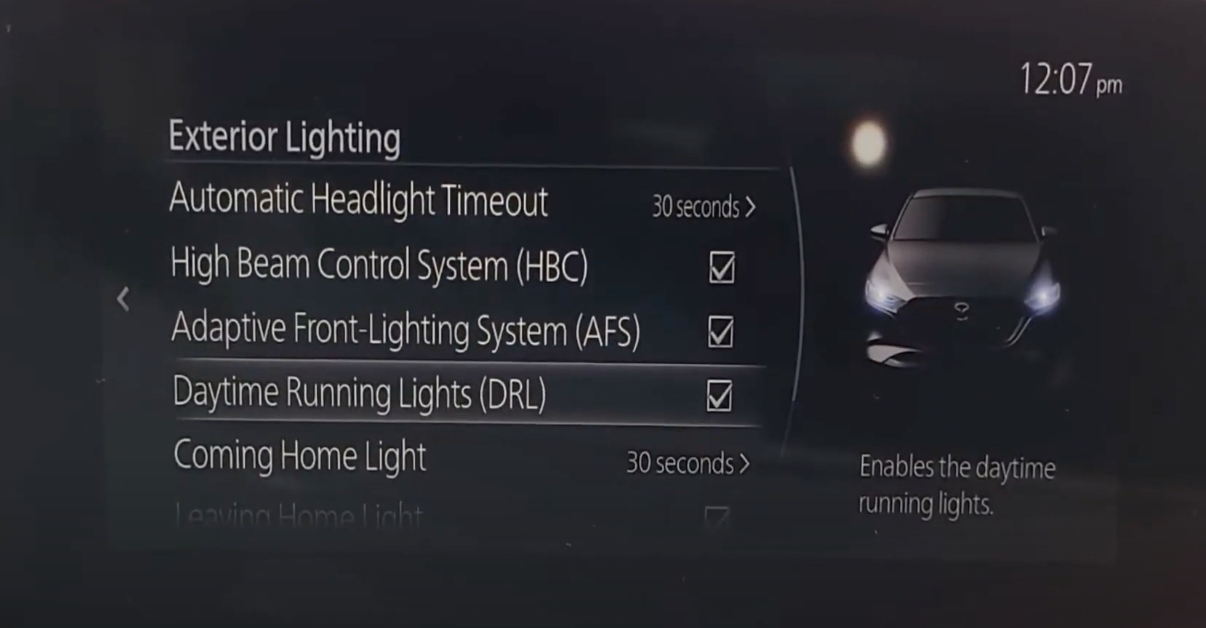 Turning on and off daytime running lights