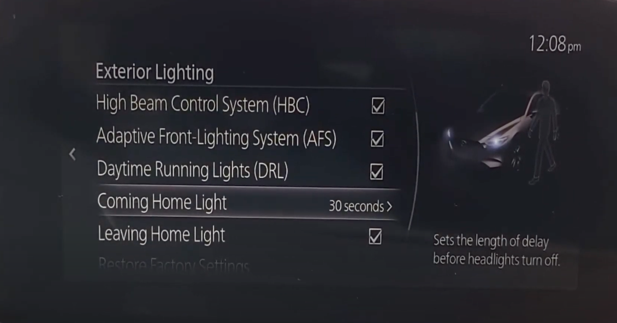 Setting the length of delay before headlights turn off