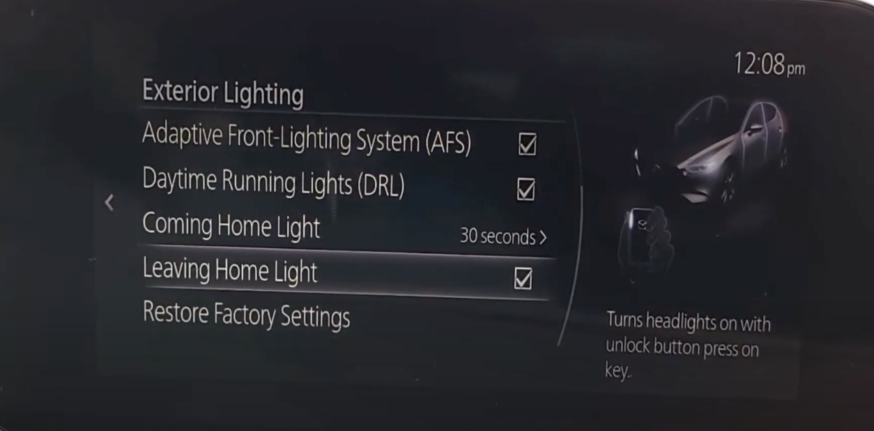 Option to turn on exterior lights with unlock button press on key