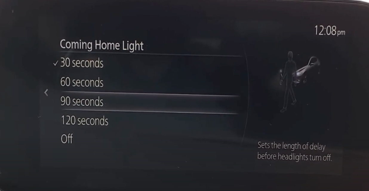 Setting the delay before headlights turn off