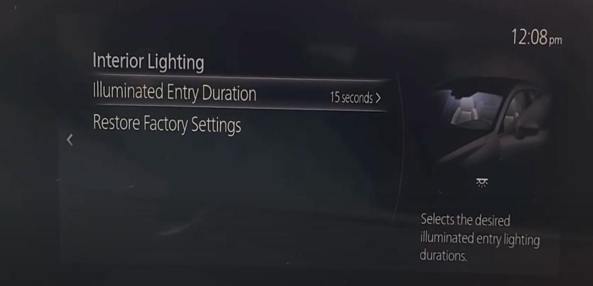 Adjusting illuminated entry duration for interior lighting