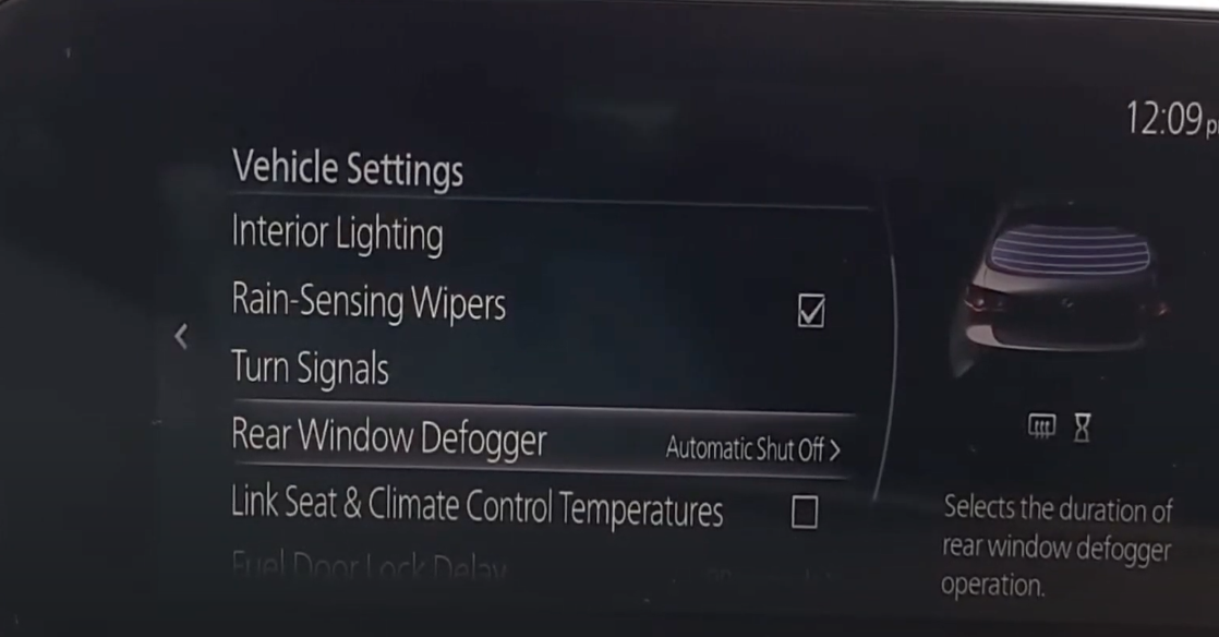 Read window defogger option selected from a various list of settings