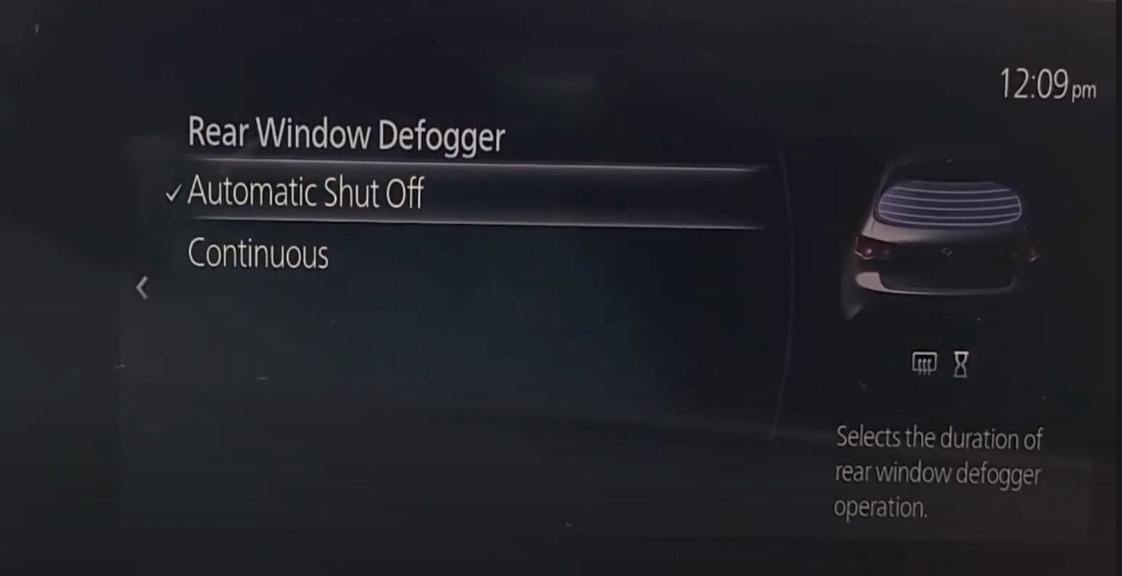 Settings for the rear window defogger