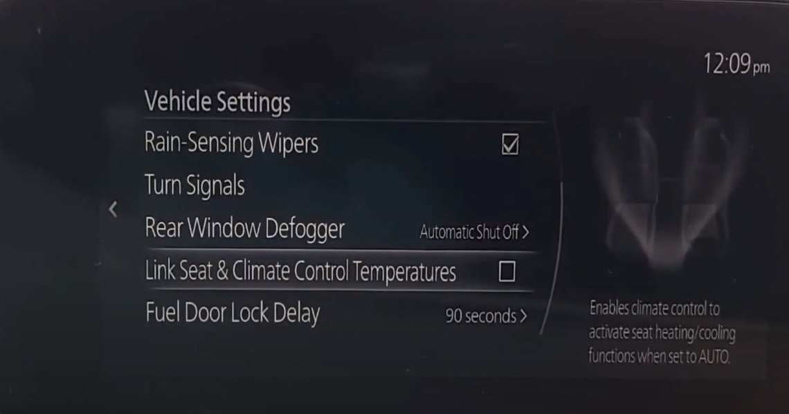 Enabling climate settings to turn on and off seat heating/cooling