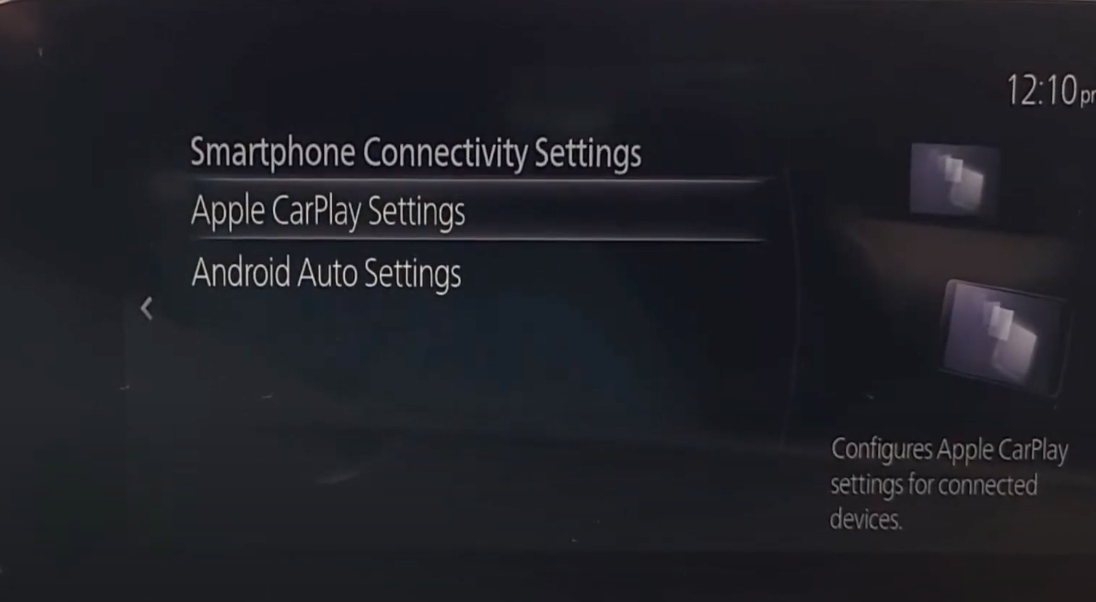 Settings to enable Apple Carplay and Android Auto