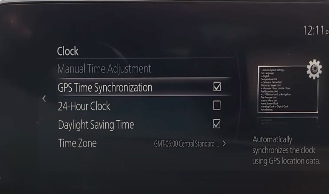 A list of settings for the clock such as time zone