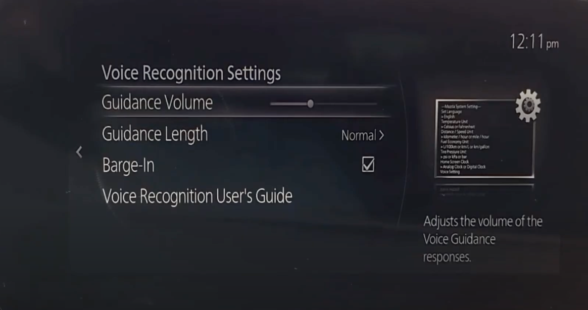 Settings page for the voice recognition such as guidance volume and length