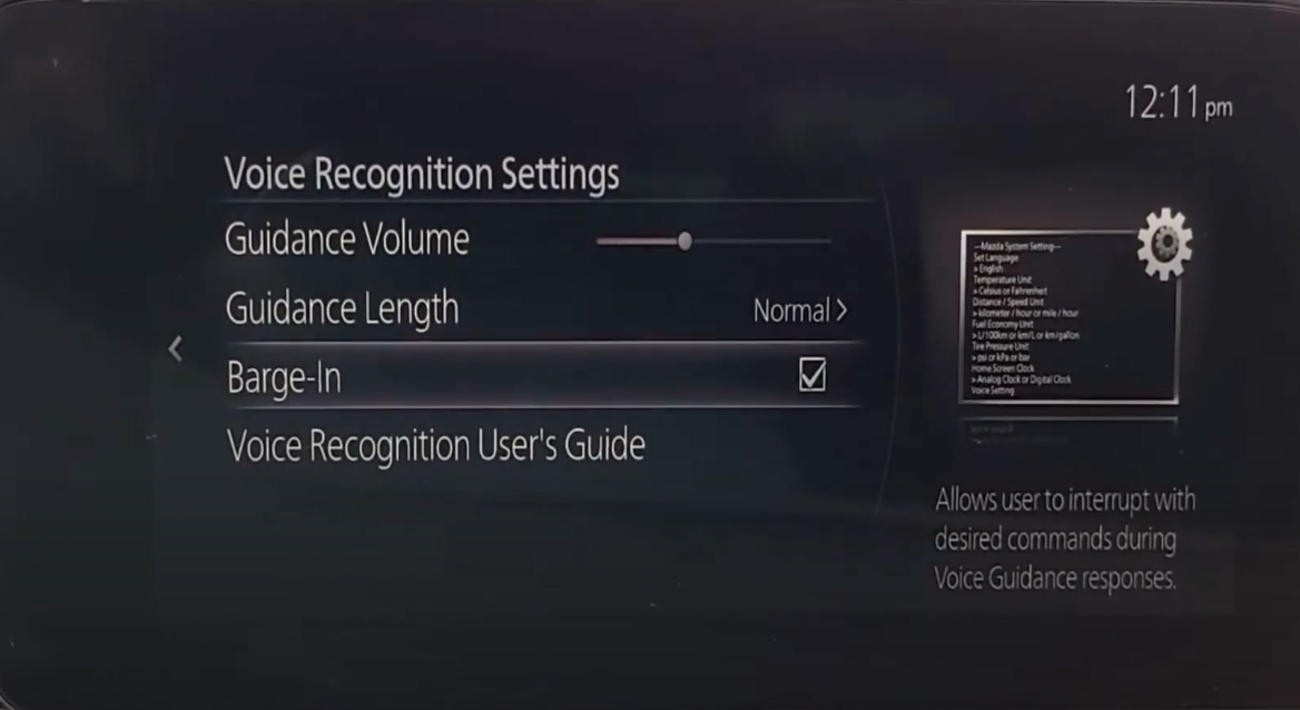 Enabling a user to interrupt with a desired command during voice guidance responses