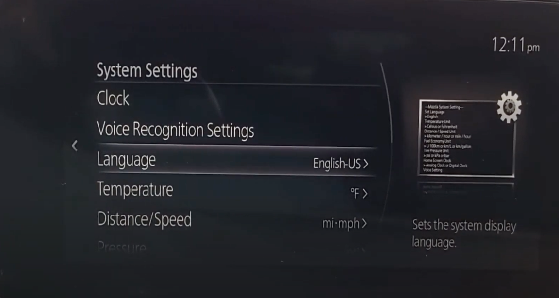 Language option chosen from a list of system settings