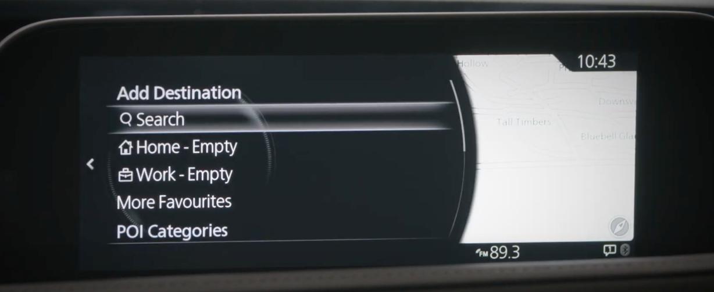 Navigation menu giving the option to search a destination