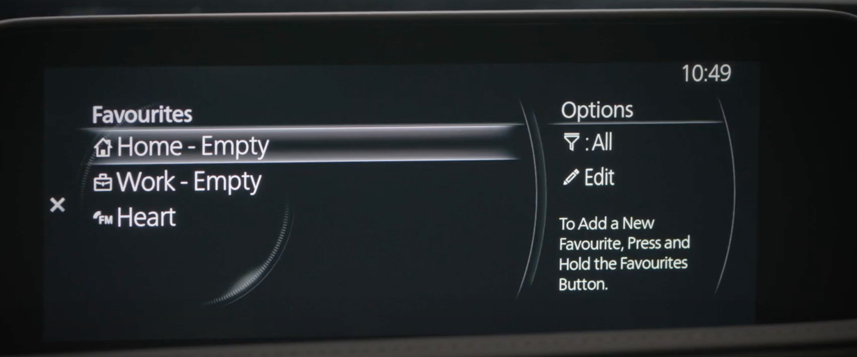 Adding a new favorite address from the navigation menu