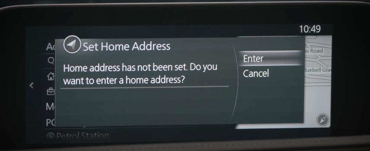 Setting up a home address through the navigation menu