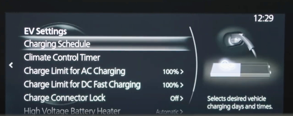 Setting up the electric vehicle settings such as charging schedule