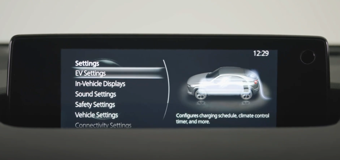 General settings list for the vehicle