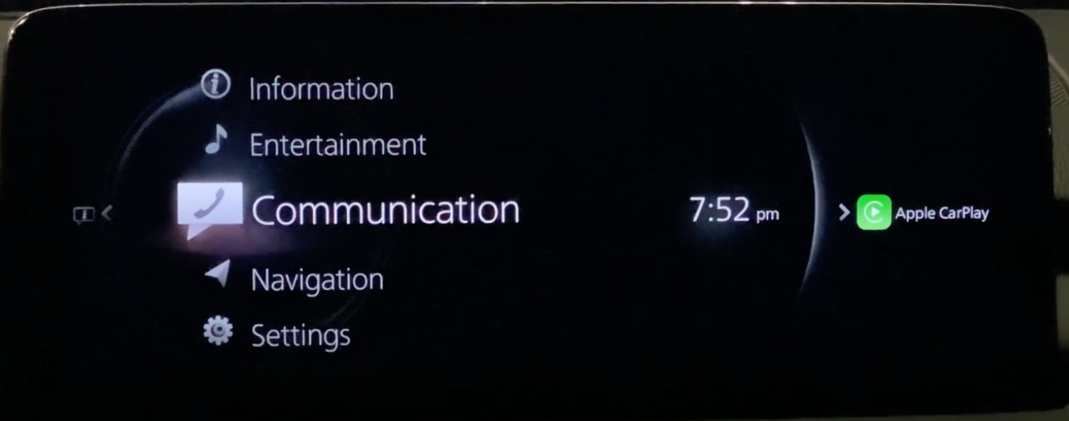 A list and icons for the various apps in the infotainment system