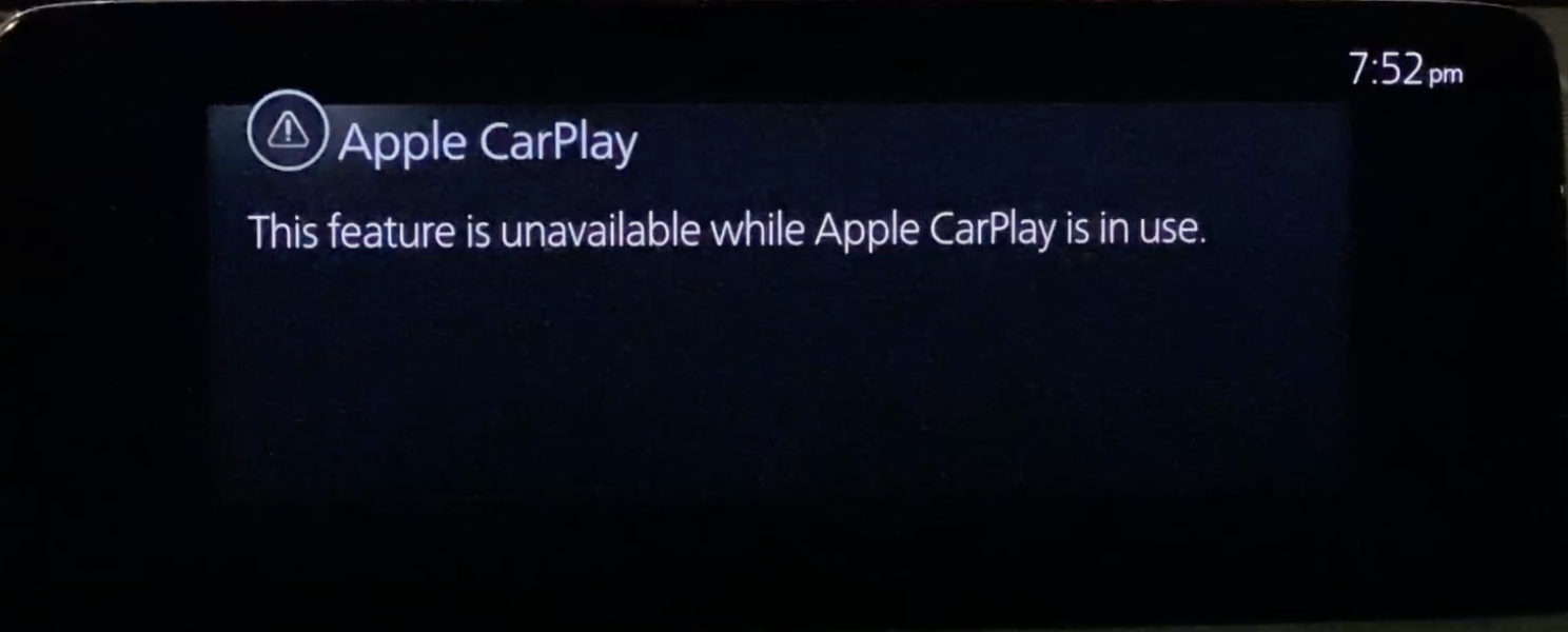 Disclaimer informing a user that while Apple Carplay is in use some features are not available