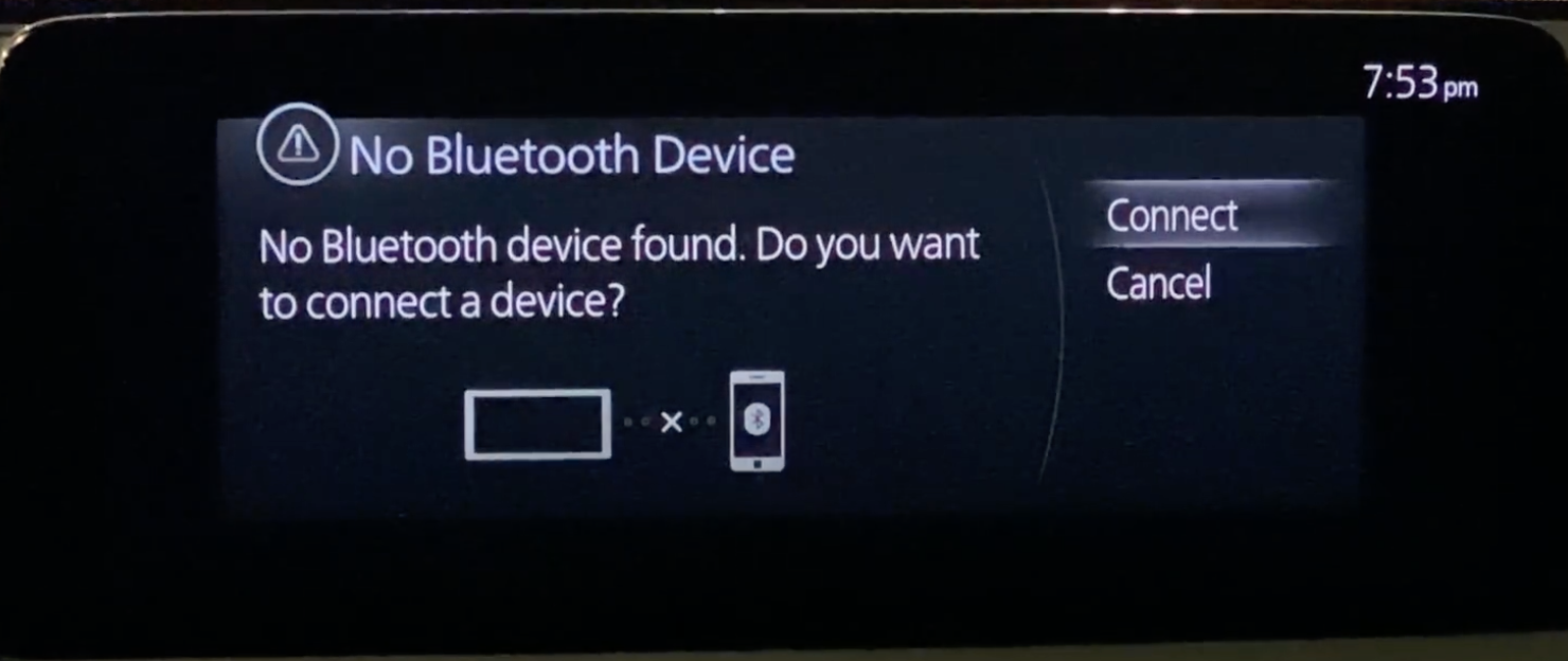Disclaimer indicating that there are no currently any devices connected through Bluetooth and option to connect one