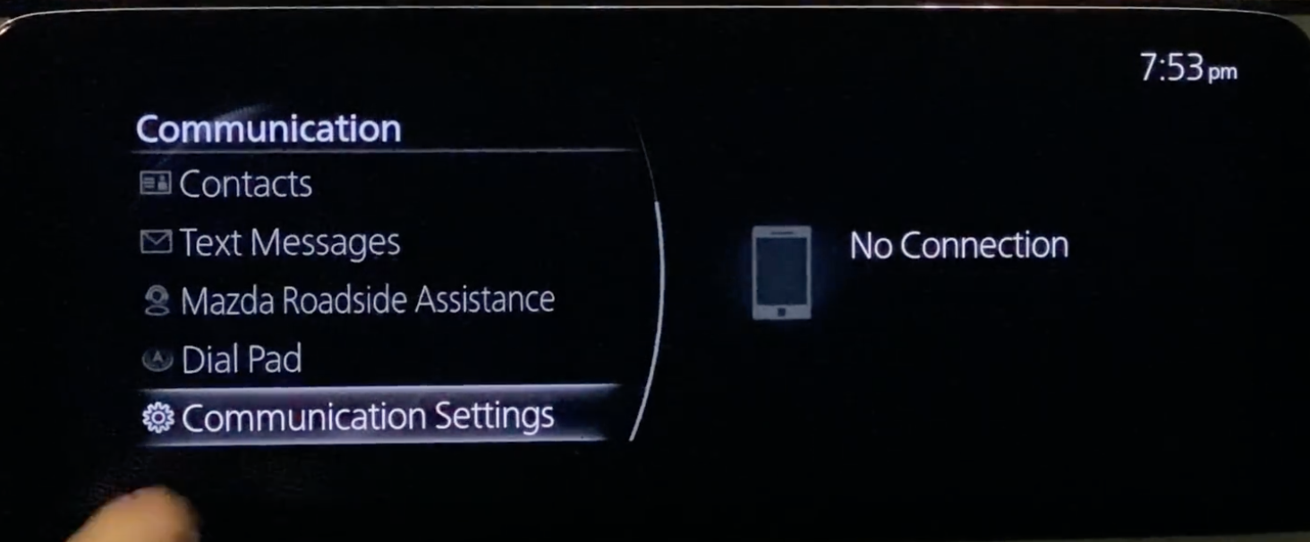 List of available options under the communication app such as contacts and communication settings