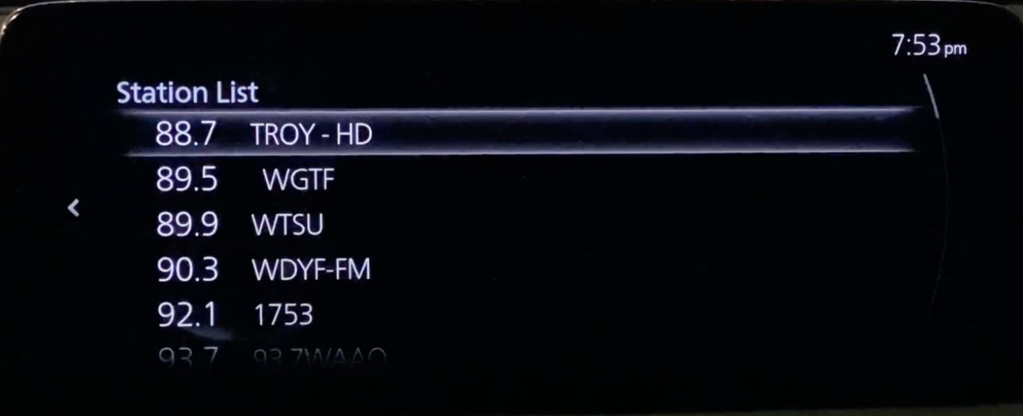 A list of the radio stations for a user to browse