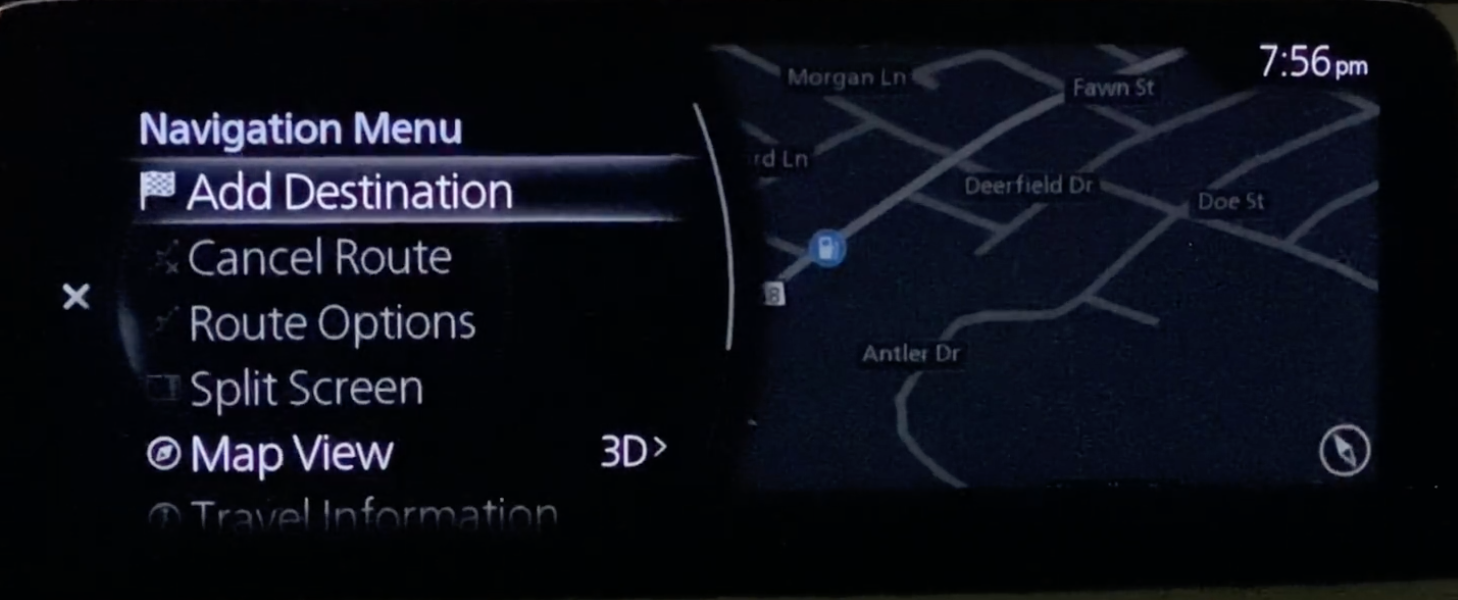 Option add destination selected from the navigation menu