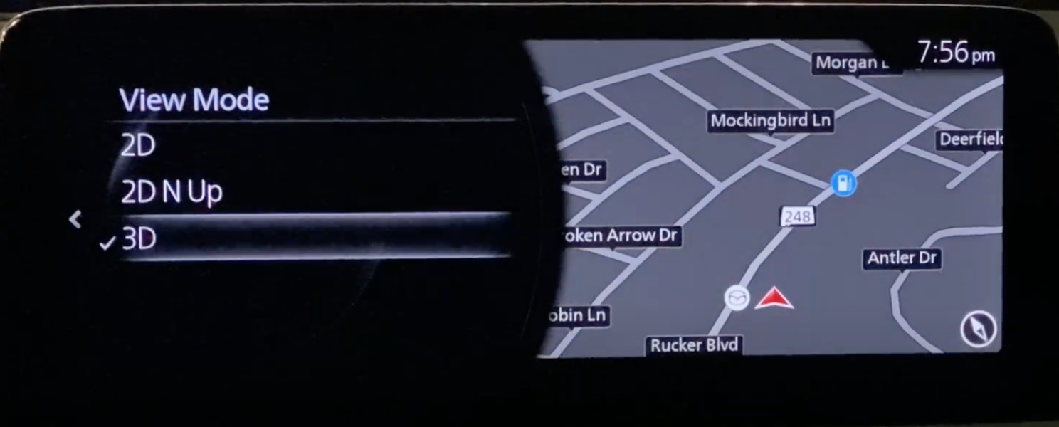 Adjusting the navigation settings and the view mode of the map such as 2D or 3D