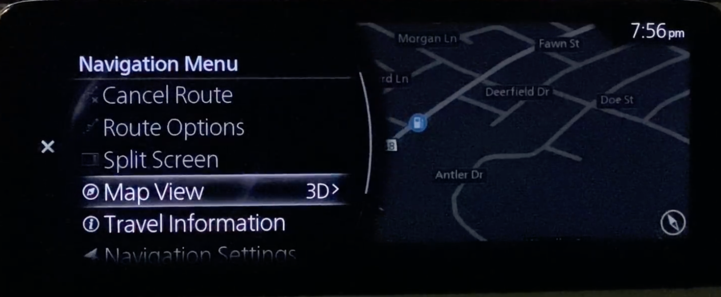 Selecting the option map view from the navigation settings