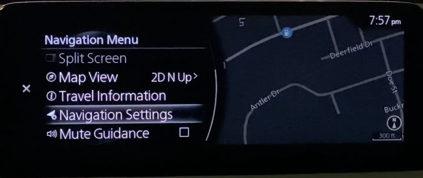 Option to choose navigation settings from the navigation menu and muting guidance