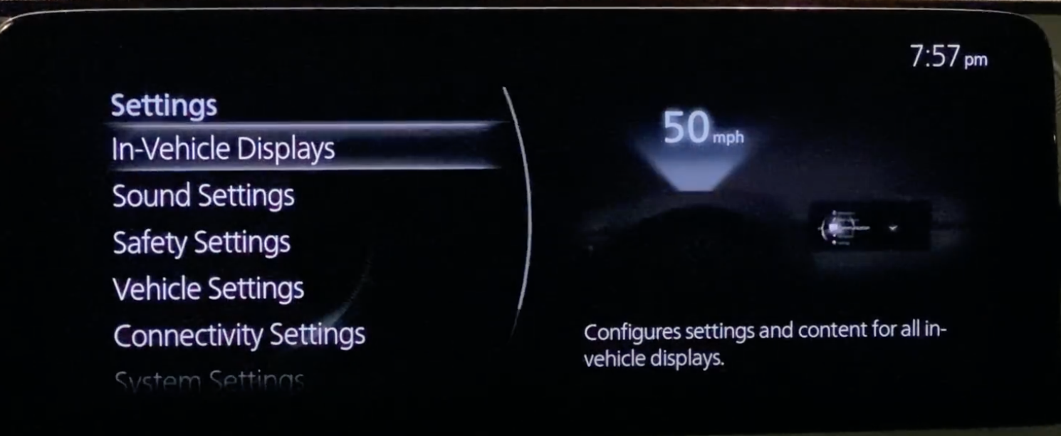 List of general infotainment settings such as display and sound settings