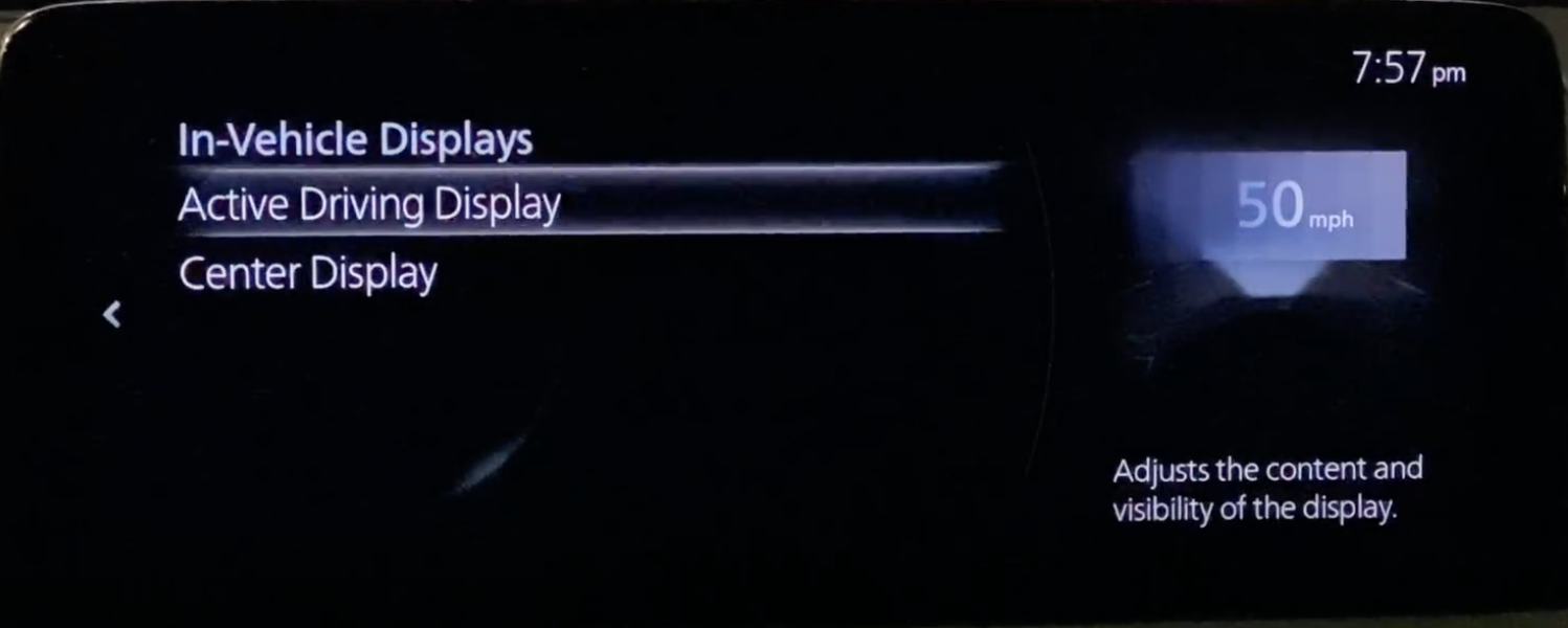 Settings for the heads up display