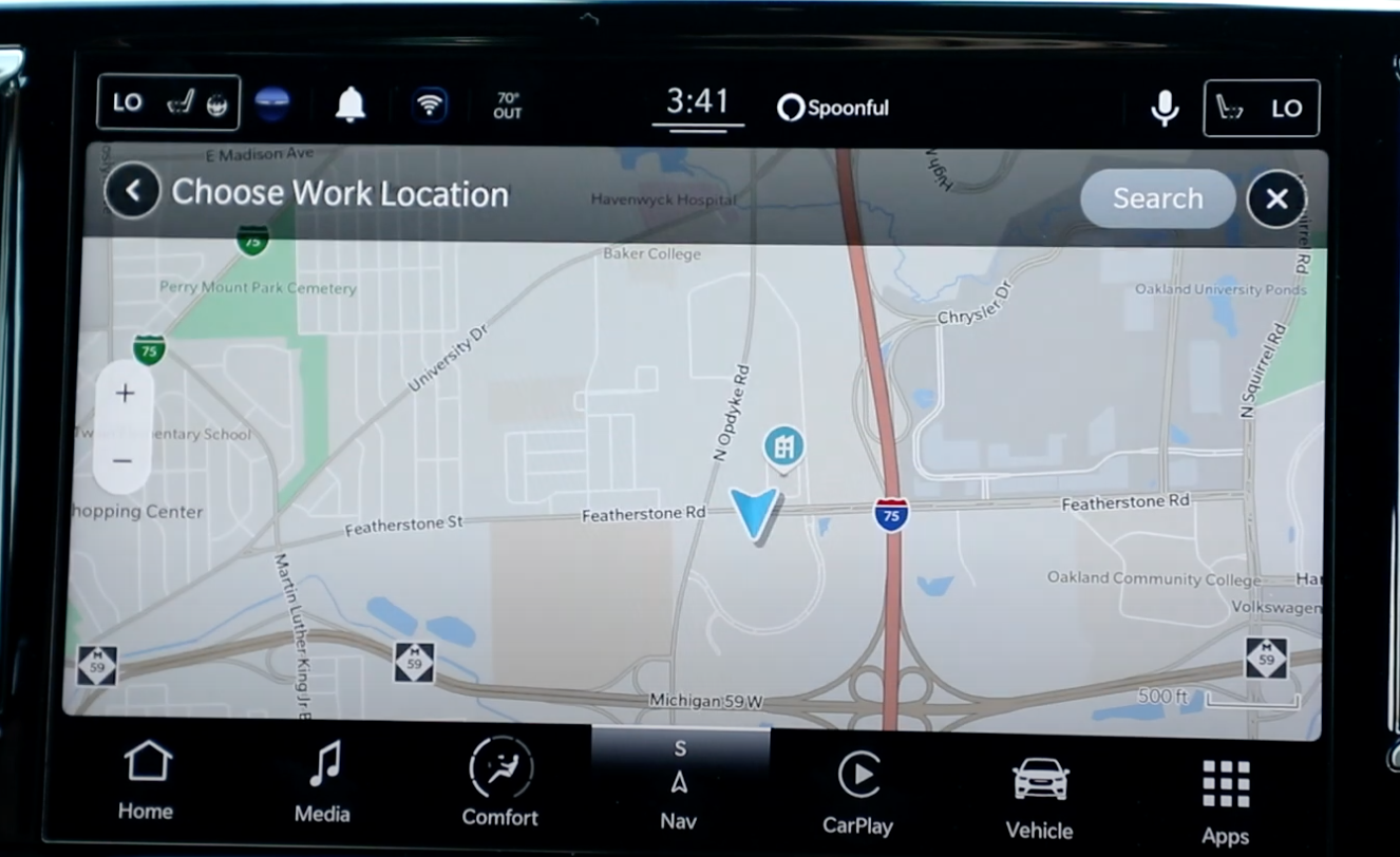 The map view in the navigation of the infotainment system and option to add workplace