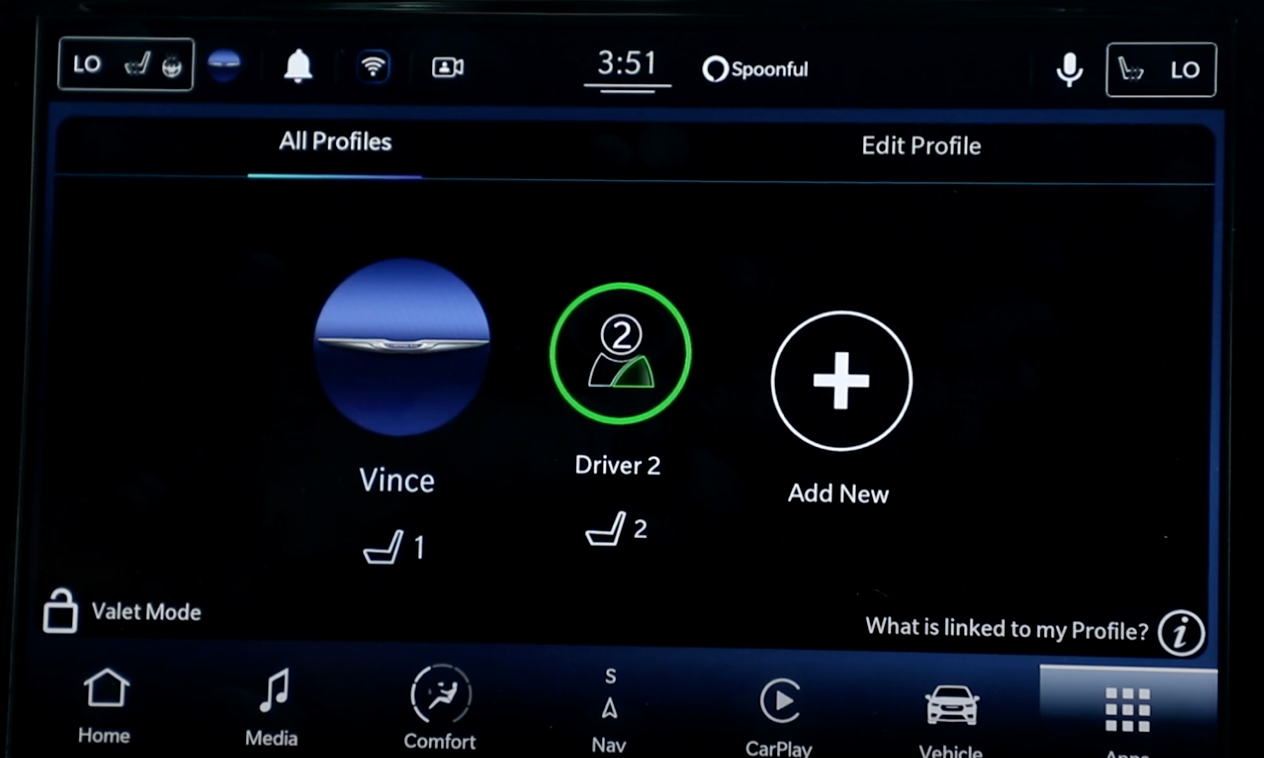 A list of the profiles that are registered to the vehicle