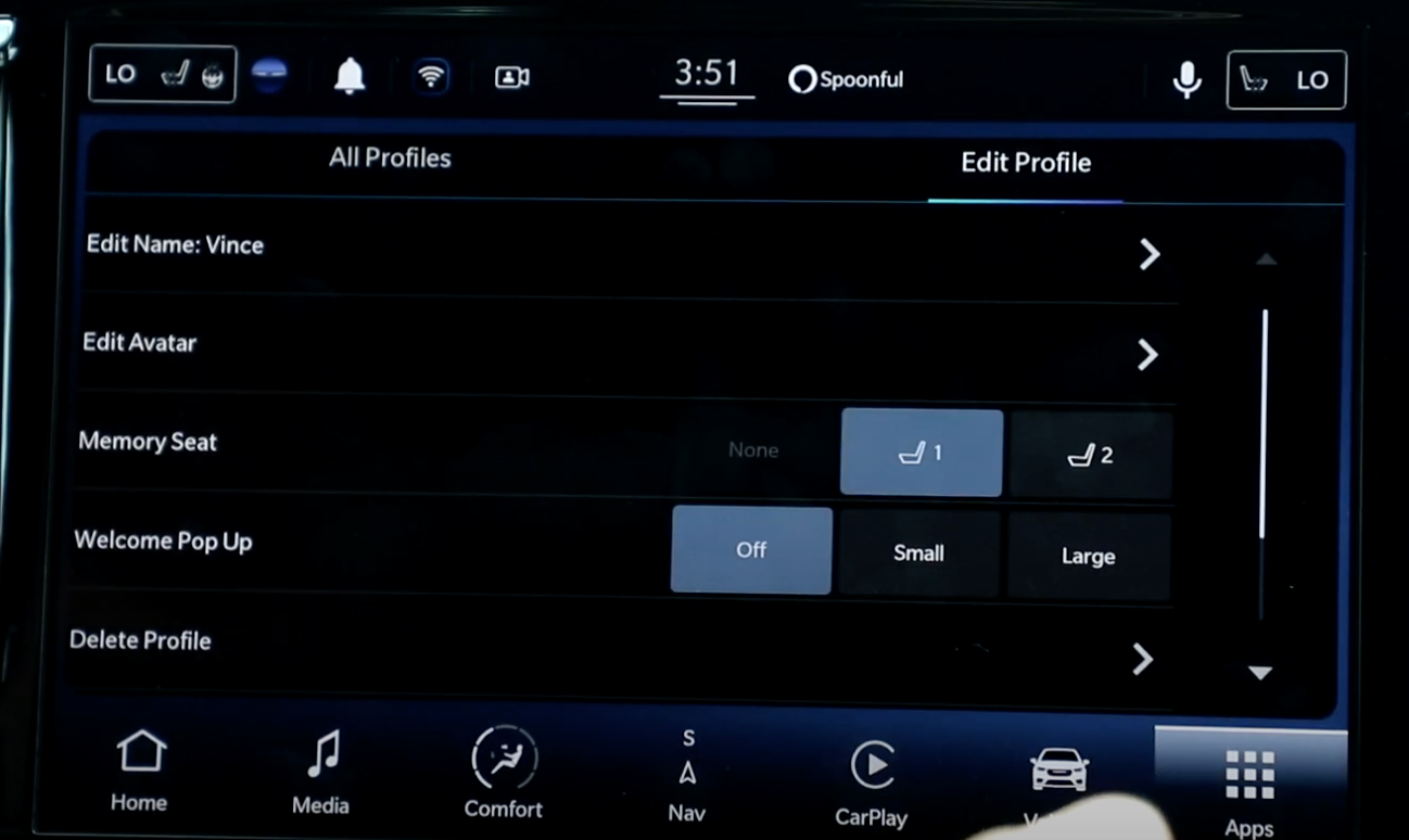 Settings for the chosen profile of the car such as editing the avatar or deleting profile