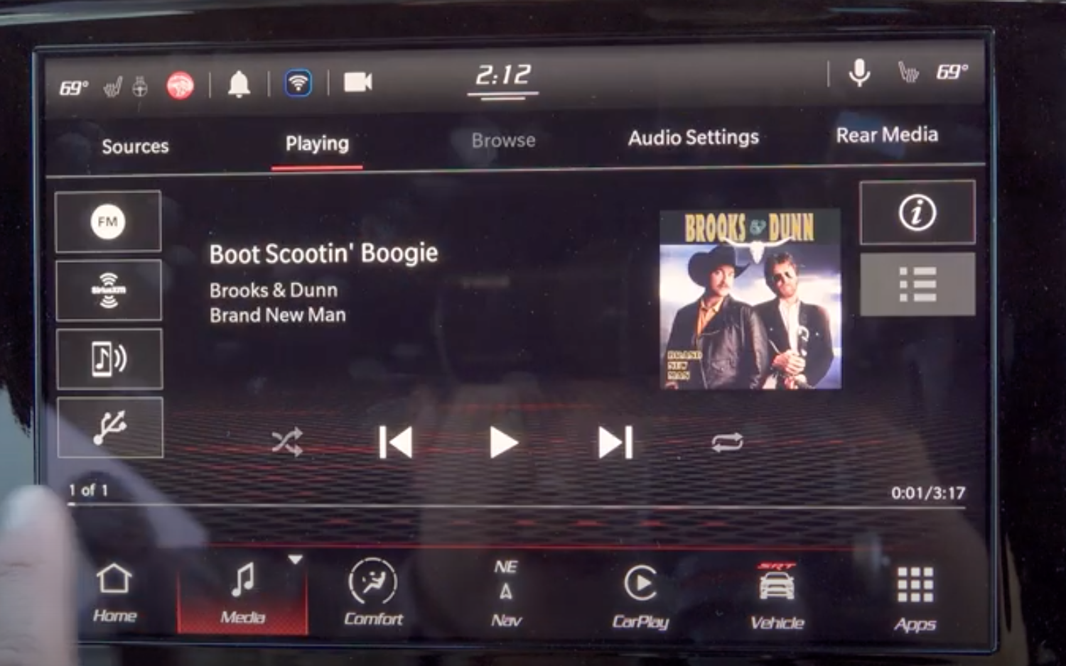 The music player screen with a list of sources on the left side