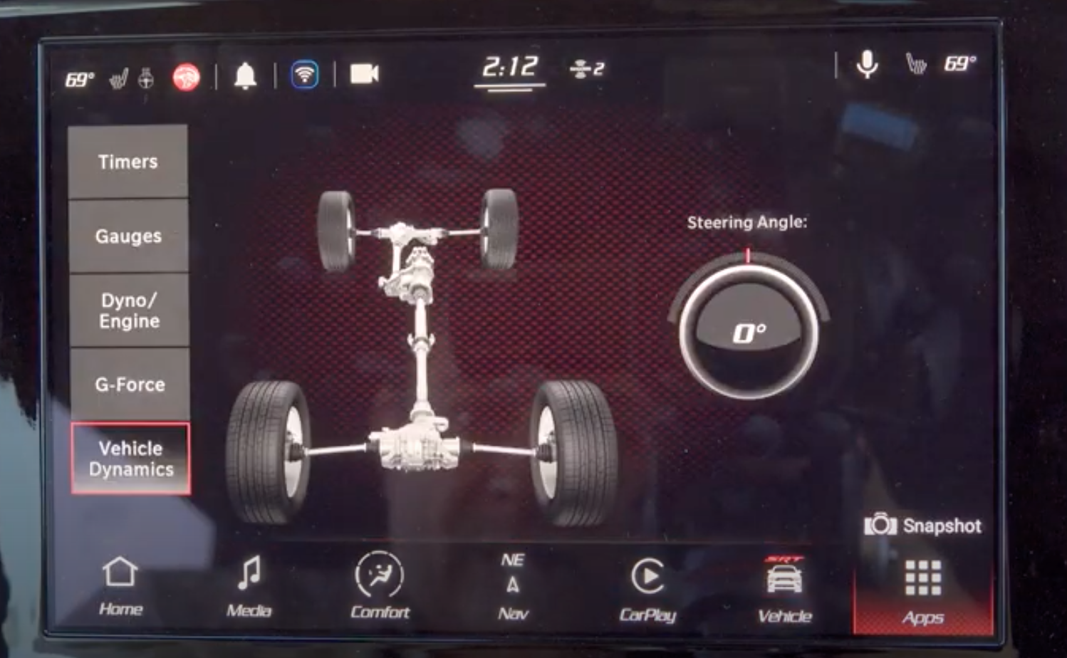 Vehicle dynamics page with illustration of the tires and the steering angle information