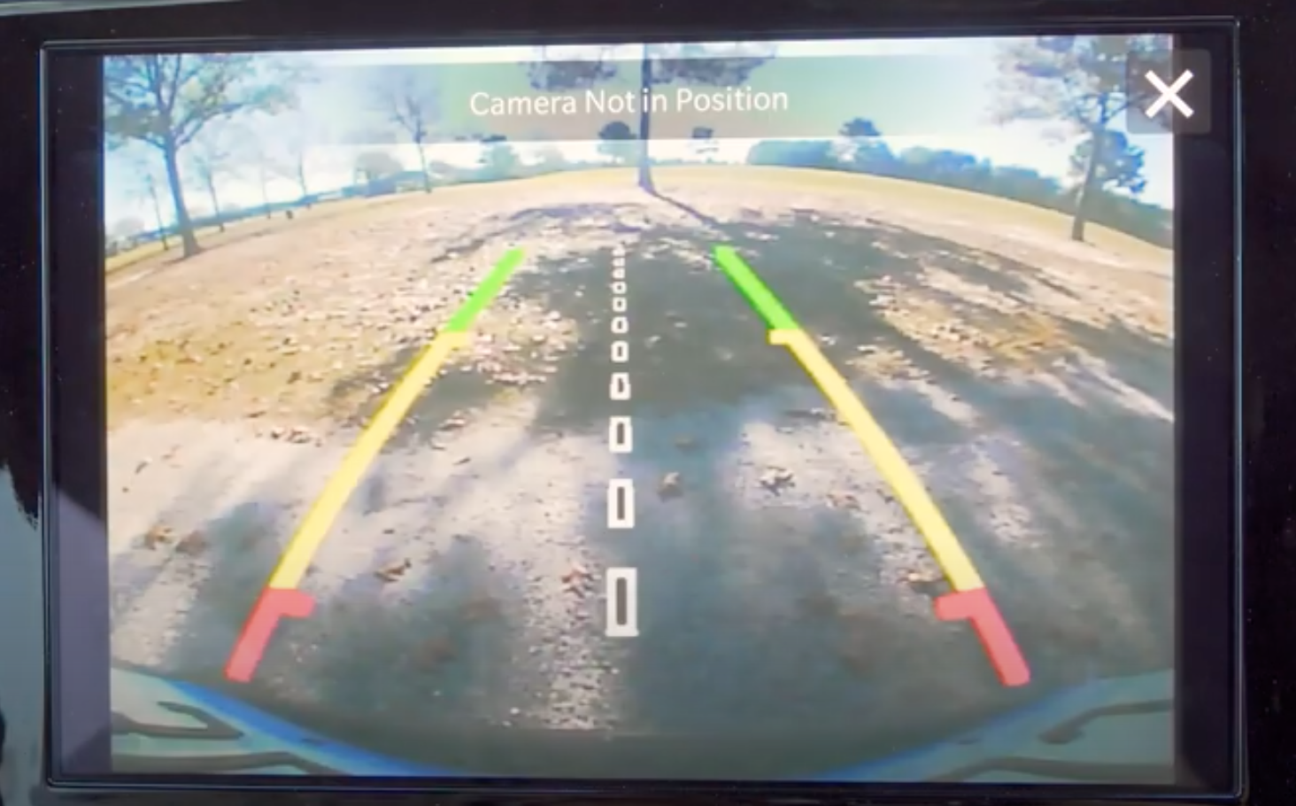 A view of the rearview camera on the infotainment display to assist with parking