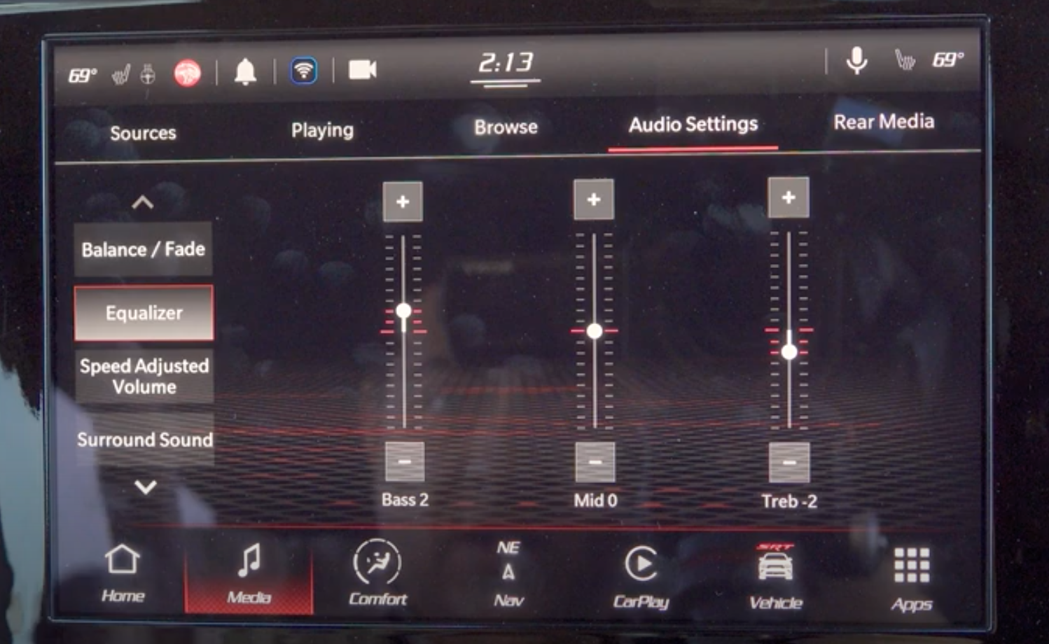 Adjusting the audio settings such as the balance and fade