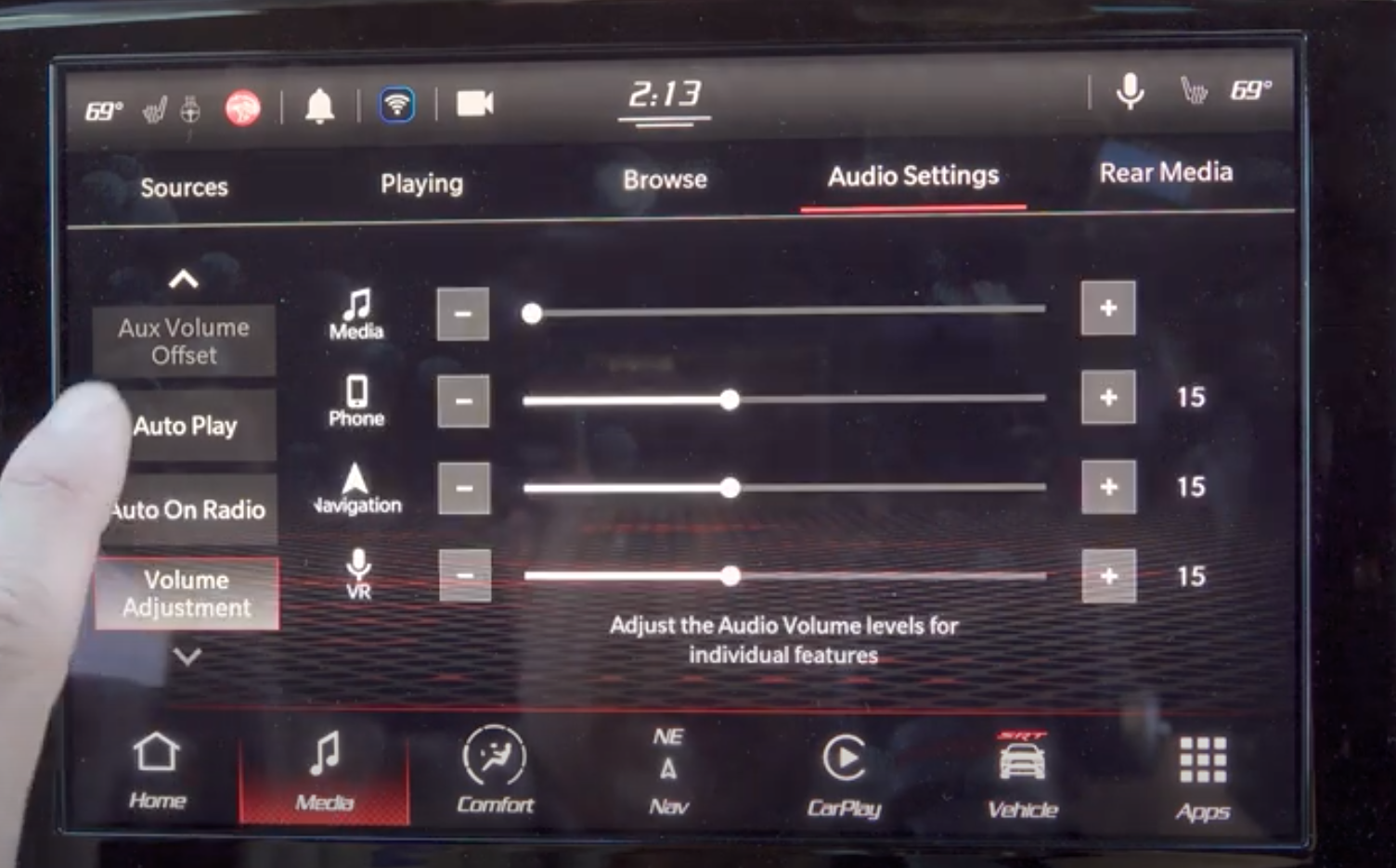 Adjusting the volume levels for the media sounds