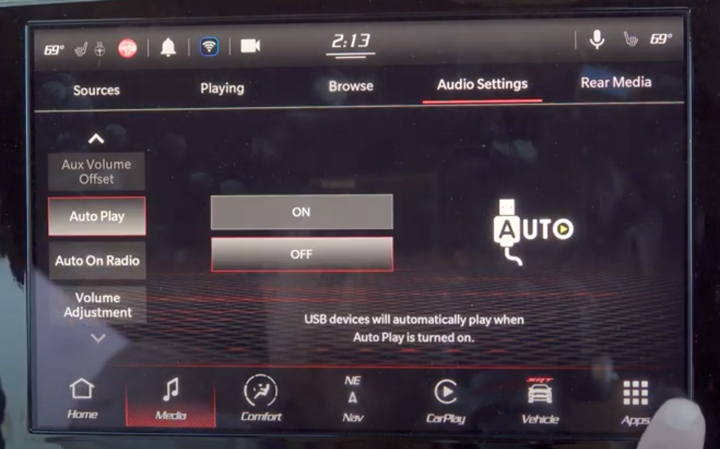 Turning on and off automatic USB devices when Auto Play feature is on