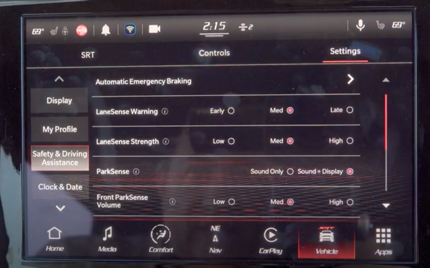 List of various driver assistance settings and turning them on and off with digital buttons