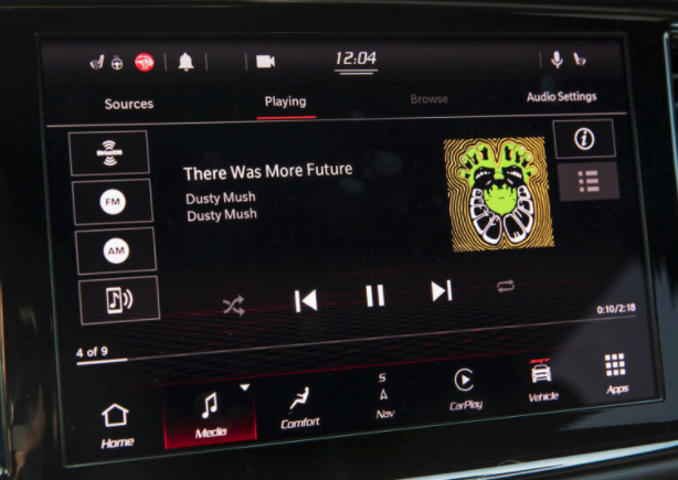 Screen of the music player with a list of sources on the left side