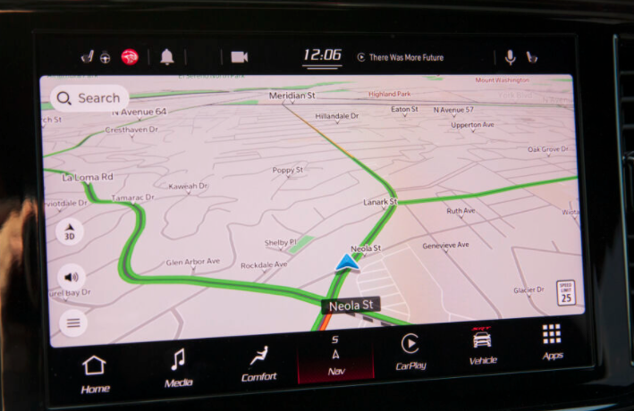 Turn by turn navigation view with a map and the journey highlighted in green