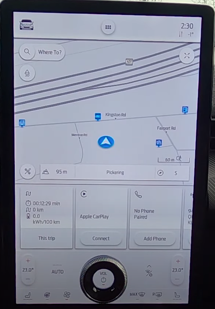 The home screen with a navigation map and three widgets for different information