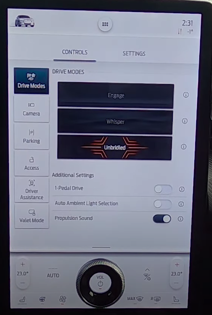 Various drive modes listed such as engage, whisper and unbridled